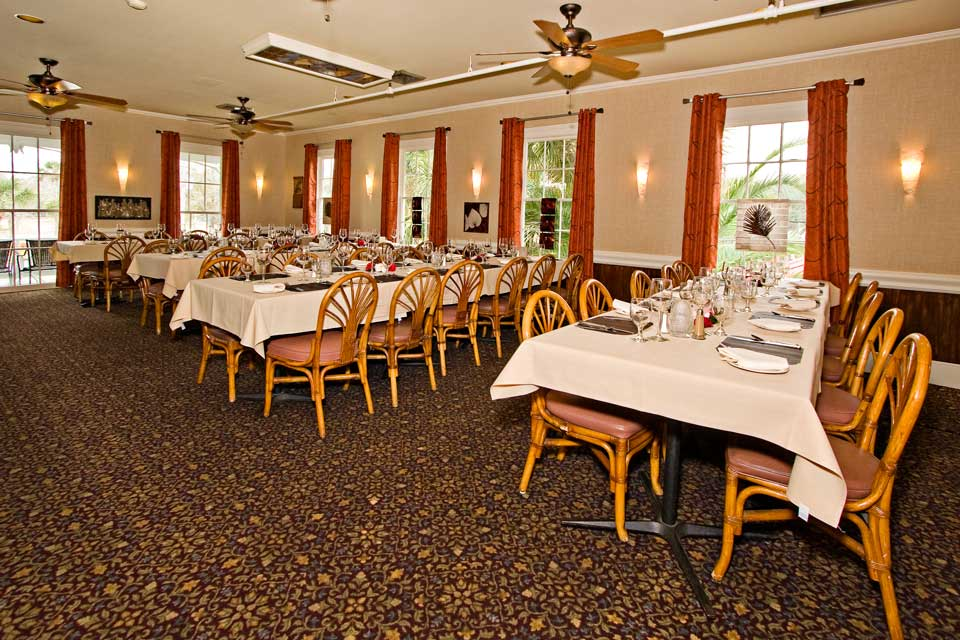 Banquet table and chairs in a large room at Raintree Restaurant