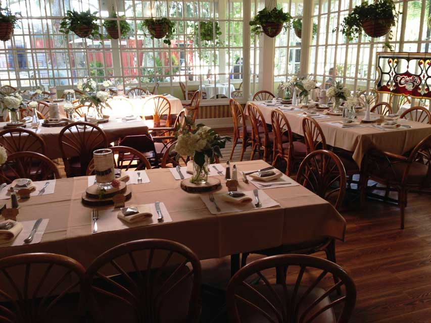 A room set up for a group at Raintree Restaurant