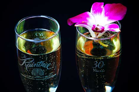 Champagne served for Sunday Brunch at Raintree Restaurant in St. Augustine, Florida